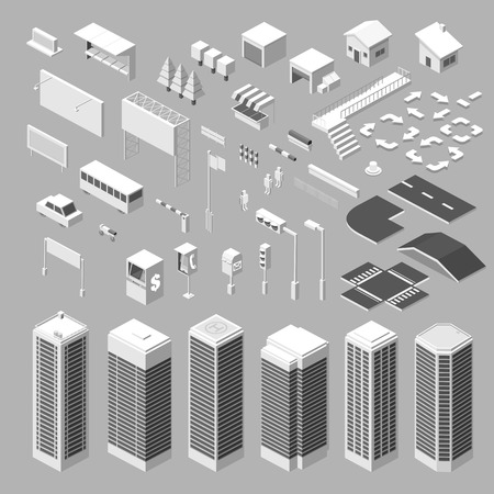 Isometric city map - vector Illustration