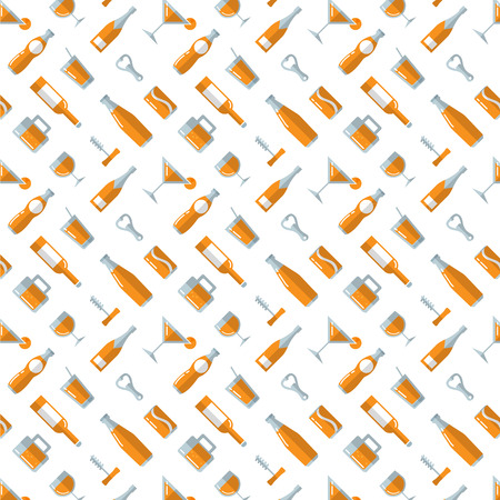 Cocktails and Liquor Bottle Pattern - vector illustration