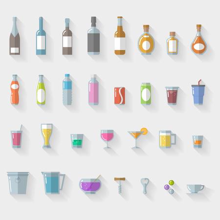 botella de whisky: Icon Set copas y vasos sobre fondo blanco - ilustraci�n