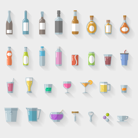 Icon Set  drinks and glasses on white background - illustration Vector
