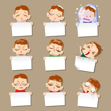 Vector cartoon reporter set  nine cartoons - vector illustration