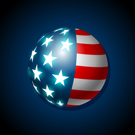 American flag concept with the American flag in a ball shape
