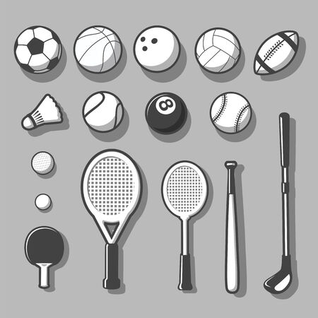 Illustration of balls and other sports related Items - Vector Illustration