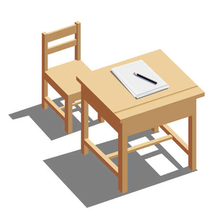 chair wooden: furniture Table and Chair on white background - Vector Illustration