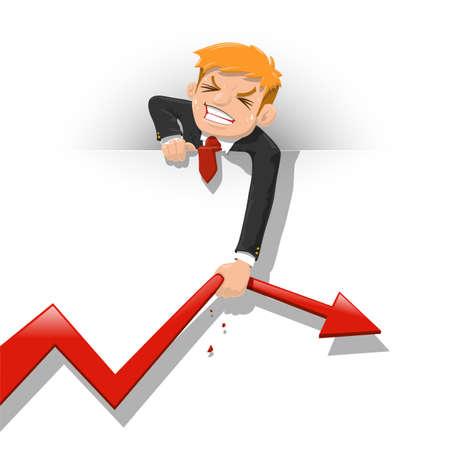 Businessman Pulling Red Arrow - Vector illustration 向量圖像