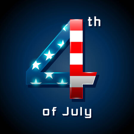 Number 4: Happy 4th of July with the American flag in a number 4  sign Illustration