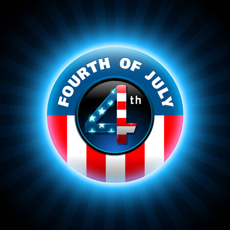 Happy 4th of July with the American flag in a number sign