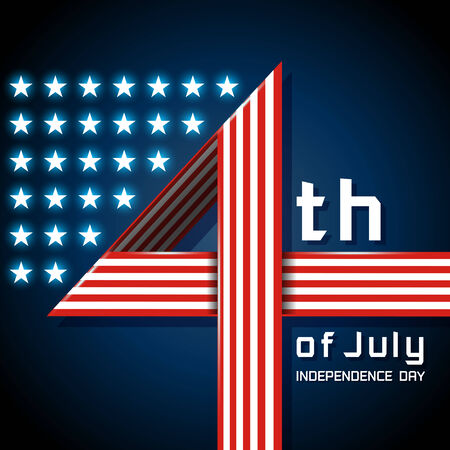 4 july: Happy 4th of July with the American flag in a number 4  sign Illustration