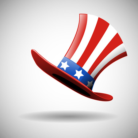 Happy 4th of July with the American flag in a Hat