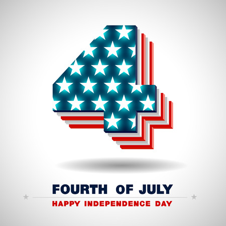 Happy 4th of July with the American flag in a number 4  sign 向量圖像