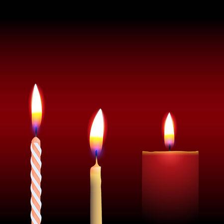 Three Candle, Isolated On Black Background