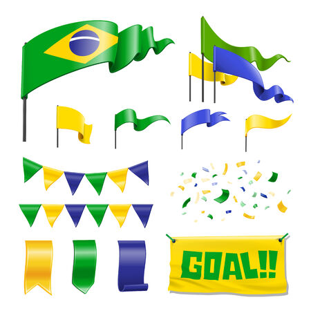 Collection Of Brazil Flag Icons 向量圖像