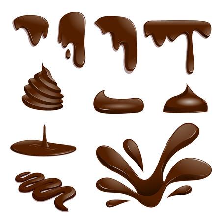 Set di gocce di cioccolato - illustrazione vettoriale Vettoriali