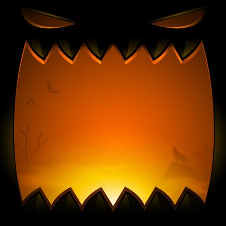 Spooky Happy Halloween background - vector illustration 向量圖像