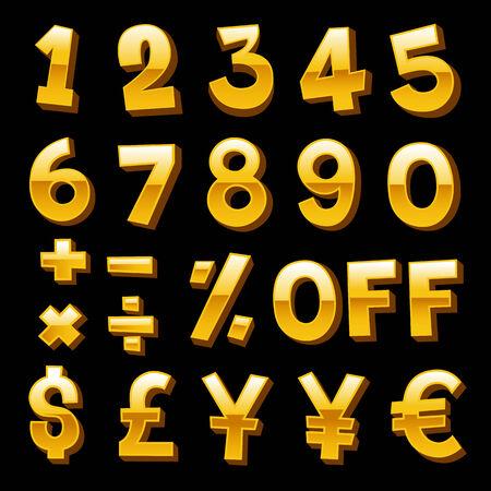 Golden Number and Money Symbol - Vector illustration