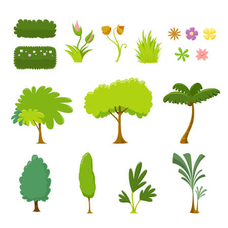 Tree and Leaf Vector Set - On White Background