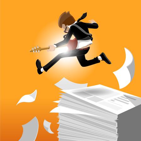 playing guitar: cartoon business man jumping while playing the guitar