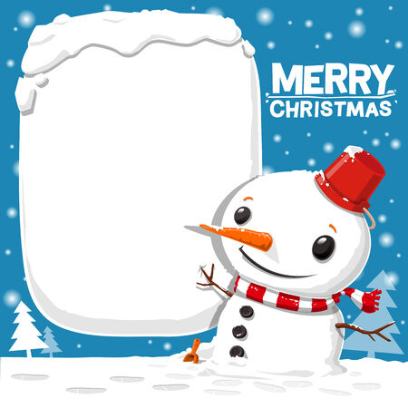 merry christmas with snowman - vector illustration 向量圖像