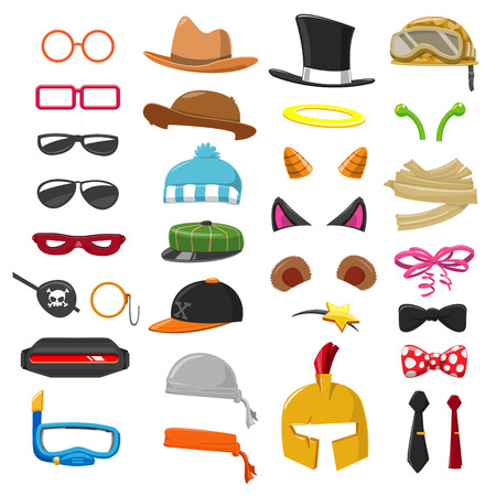 party hat: Funny Cartoon Accessory set - vector illustration