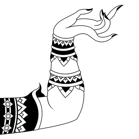 Human arm  in Line Thailand style - Vector illustration Illustration