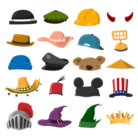 Funny Cartoon Hat set - vector illustration Vettoriali