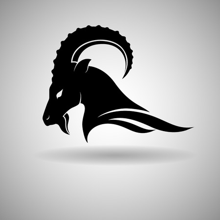 domestic goat: Black Goat Head Vector Design dark outline - vector illustration Illustration
