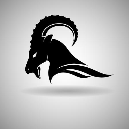 cabras: Negro Cabeza de cabra de diseño vectorial silueta oscura - ilustración vectorial Vectores
