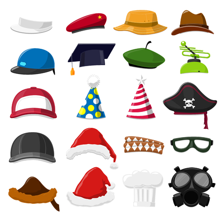 christmas golf: Funny Cartoon Hat set - vector illustration Illustration