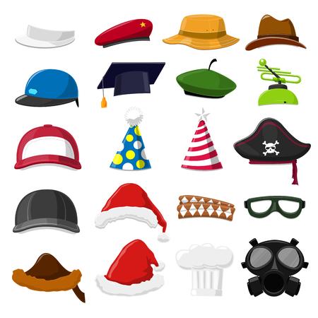 christmas golf: Funny Cartoon Hat set - vector illustration Illustration