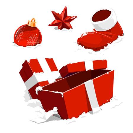 Christmas Decoration on Snow - vector Illustration