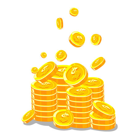 Gold Coins on White background - vector illustration Illustration