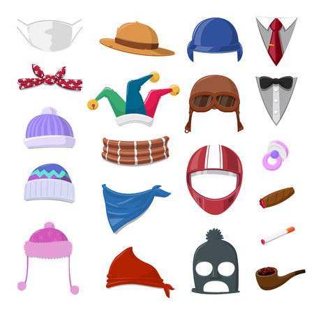 jester hat: Funny Cartoon Hat set and object - vector illustration Illustration