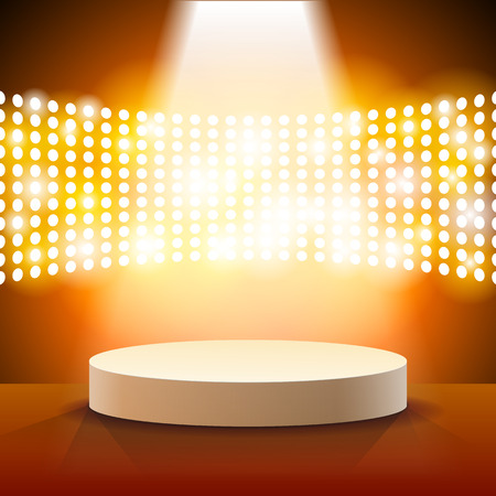 Stage Lighting Background with Spot Light Effects - vector illustration Çizim