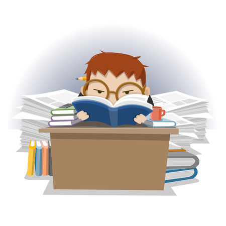 muchacho con una pila de libros para leer - ilustración vectorial