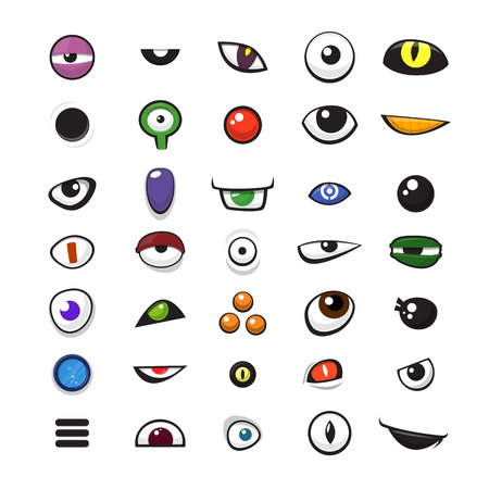 Set of cartoon vector monster eyes over white background - vector illustration