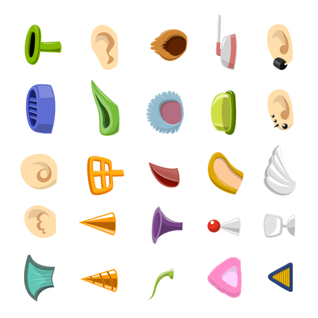 human and monster ear collection - vector illustration