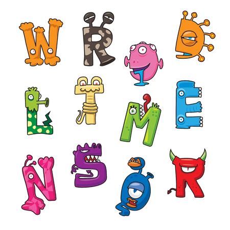 Funny monster cartoon alphabet - vector illustration