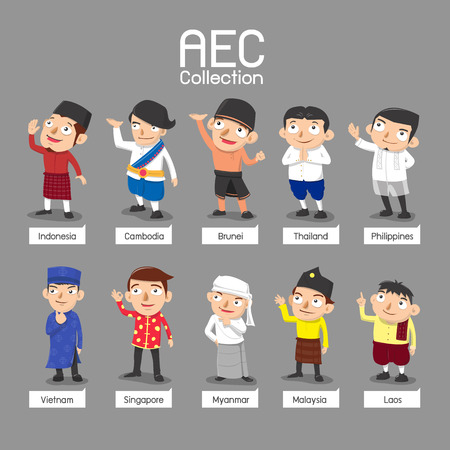 malaysia: ASEAN people in traditional costume - vector illustration