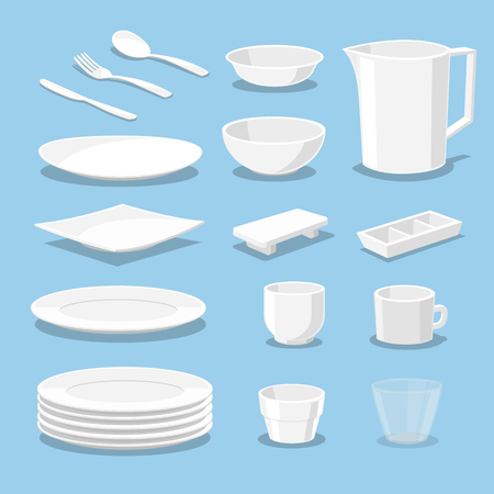 plastic ware - crockery and kitchen ware - Vector illustration  イラスト・ベクター素材