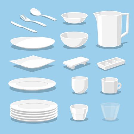 kitchen ware: plastic ware - crockery and kitchen ware - Vector illustration Illustration