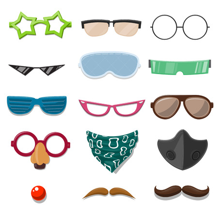 sunglasses cartoon: Funny Cartoon Accessory set - vector illustration