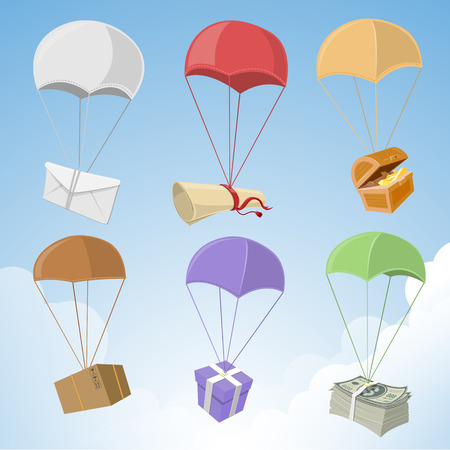 Airdrop of Supplies and Equipment  vector illustration