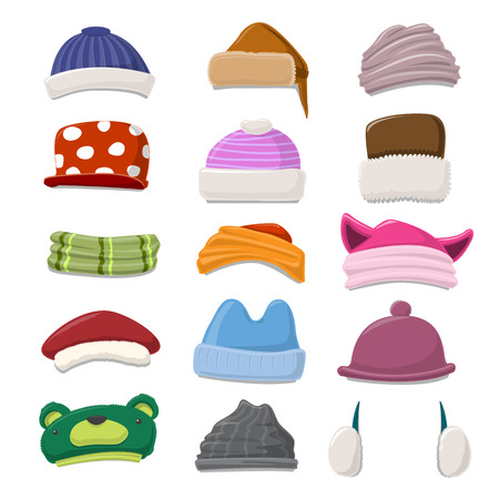 warm clothes: Funny Cartoon Winter Hat set - vector illustration