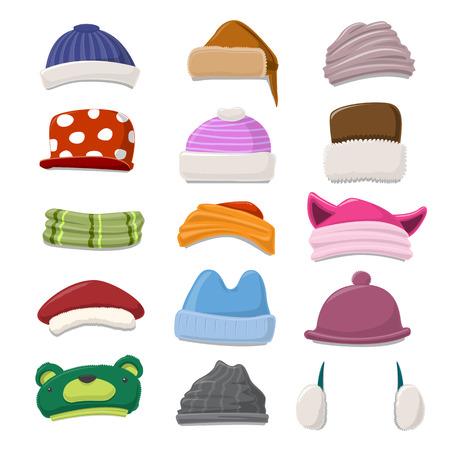 ? ?   ? ?    ? ?   ? ?  ? ?  ? hat: Invierno divertido de la historieta del sombrero conjunto - ilustración vectorial Vectores