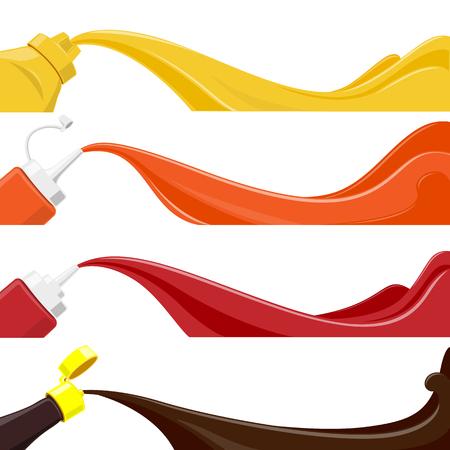 sauce bottle set - vector illustration Ilustração
