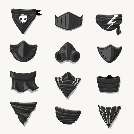 Black Mask Funny Cartoon set - vector illustration