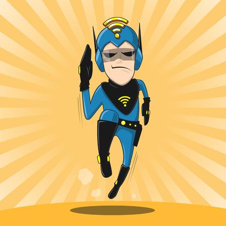 cartoon character superhero - vector illustration