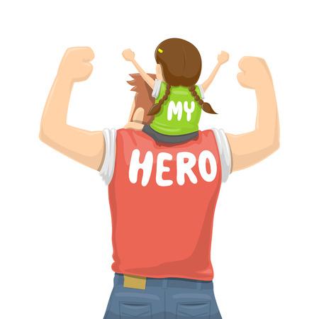 padre e hija: Día del Padre - Mi padre es un héroe - Ilustración vectorial Vectores