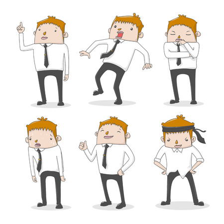 businessman worker expressing feeling and emotion - vector illustration