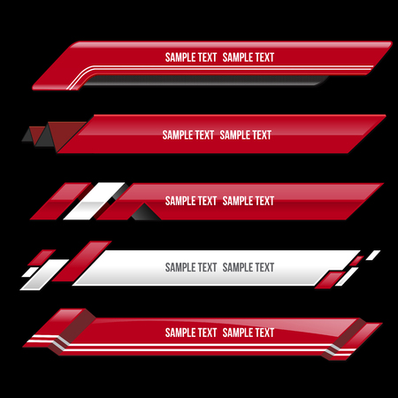 red lower third banner bar screen broadcast - vector illustration